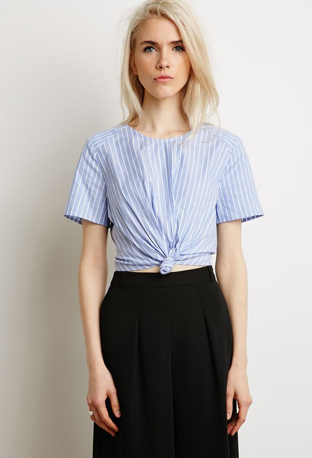 Forever 21 Knotted Striped Crop Top
