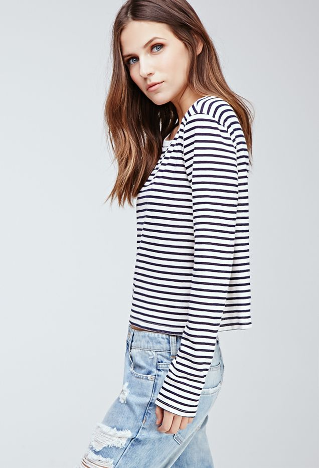 Forever 21 Boxy Texture-Striped Tee