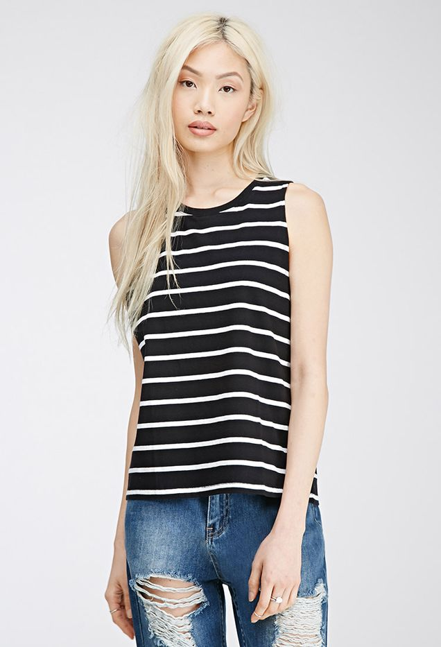 Forever 21 Striped Boxy Tank