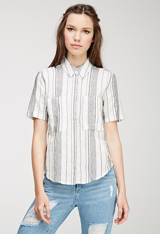 Forever 21 Mixed Stripe Linen-Blend Shirt