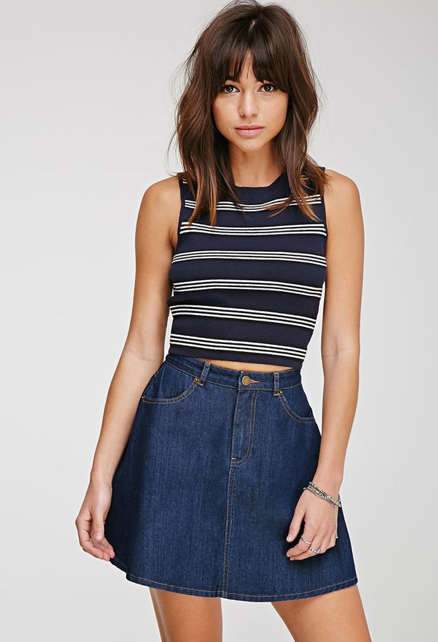 Forever 21 Ribbed Stripe Crop Top