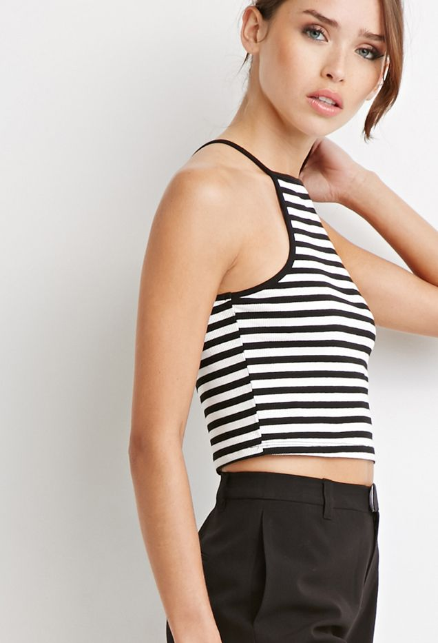 Forever 21 Striped Rib Knit Halter Top