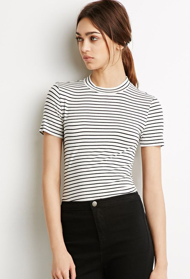 Forever 21 High-Neck Striped Tee