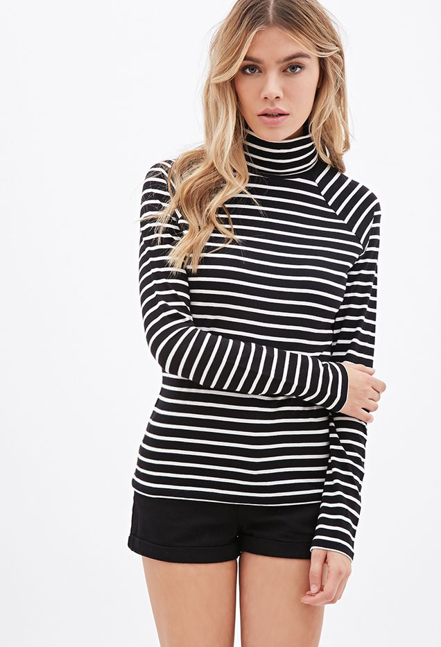Forever 21 Striped Turtleneck Top