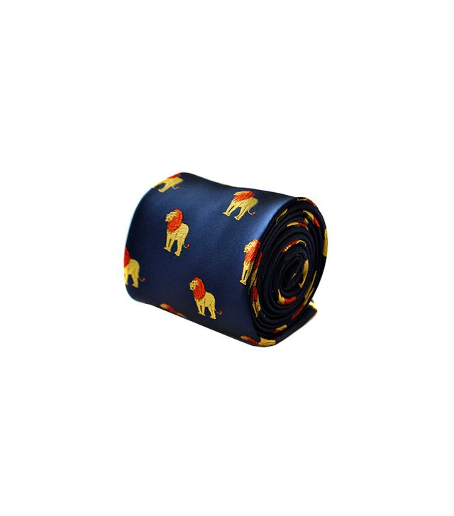 Frederick Thomas Lion Embroidered Navy Tie