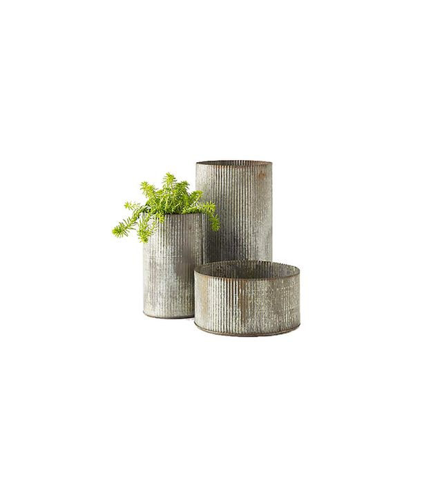 Anthropologie Ridged Zinc Pot