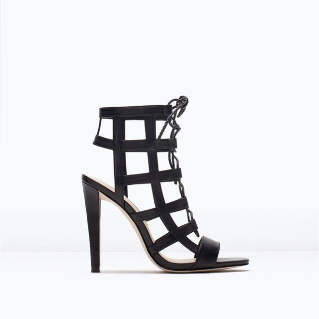 Zara Leather High Heel Wraparound Sandals