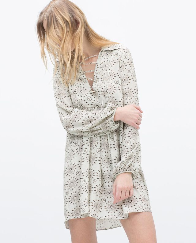 Zara Eyelet Gathered Printed Dress