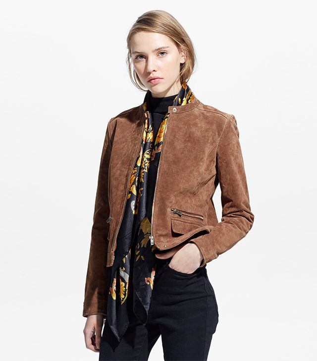 Mango Zipped Suede Jacket