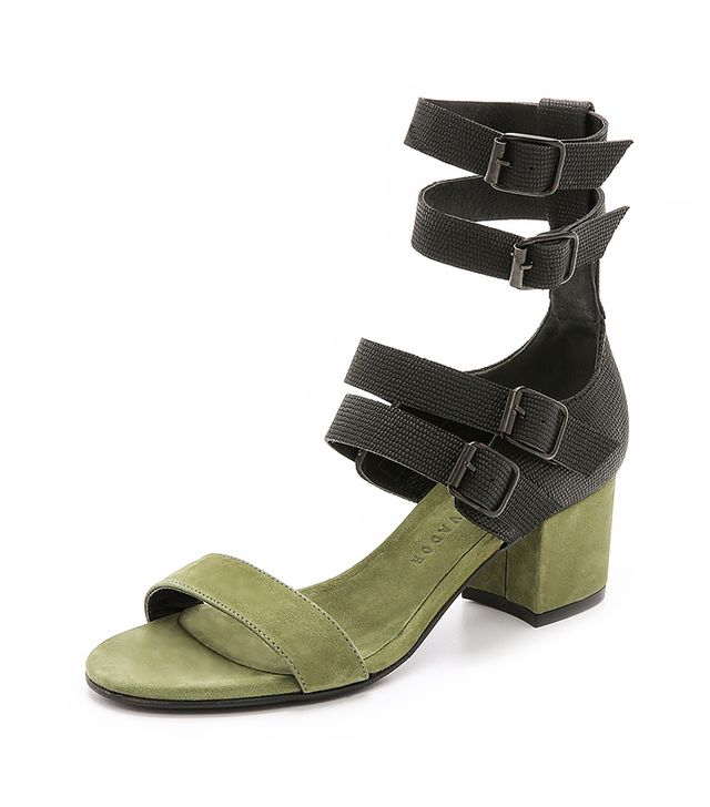 Freda Salvador Cage Sandals, Military Green/Black