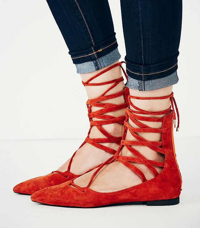 Jeffrey Campbell Shay Lace Up Flat, Orange Suede