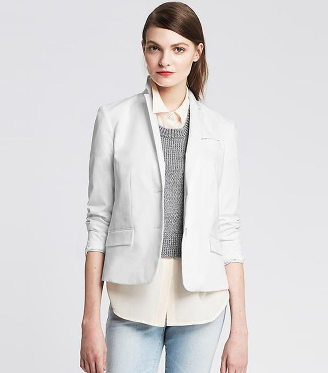 Banana Republic Cropped Sateen Blazer