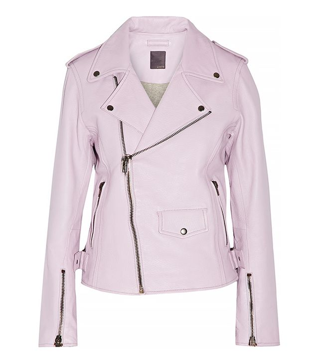 Lot78 Lilac Leather Biker Jacket