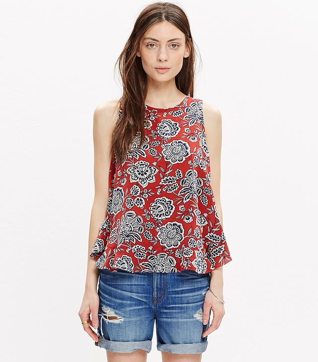 Madewell Silk Bow-Back Tank Top, Italian Floral
