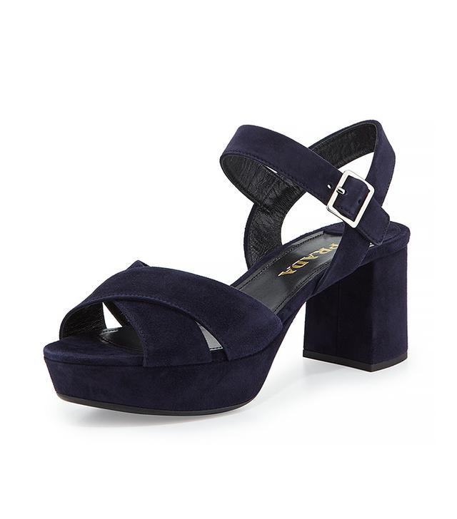 Prada Crisscross Suede Platform Sandal, Blue