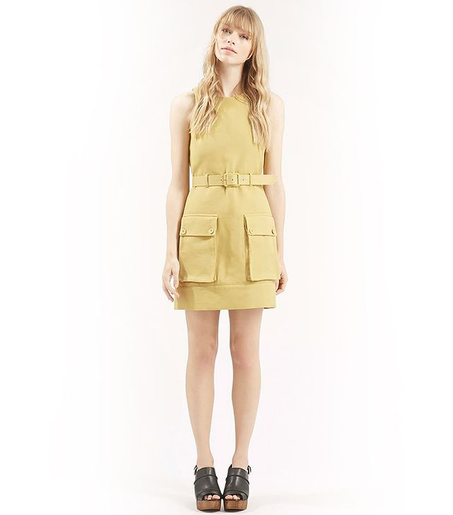 Topshop Belted Utility Dress, Light Yellow