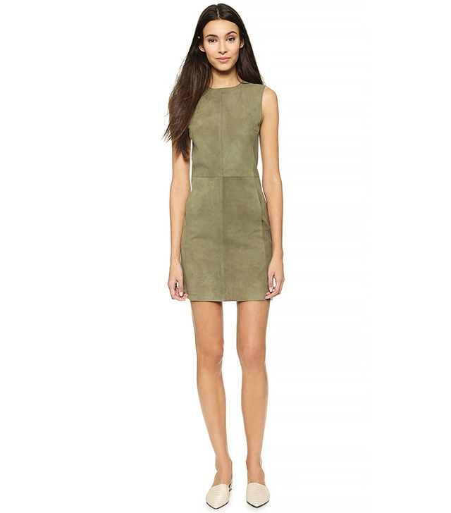Vince Sleeveless Suede Dress, Balsam