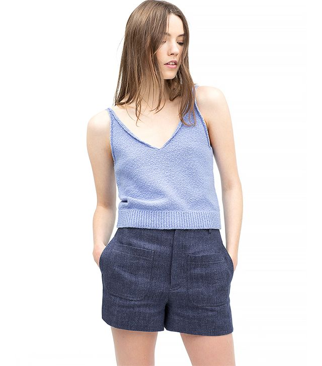 Zara V-Neck Tank Top, Indigo