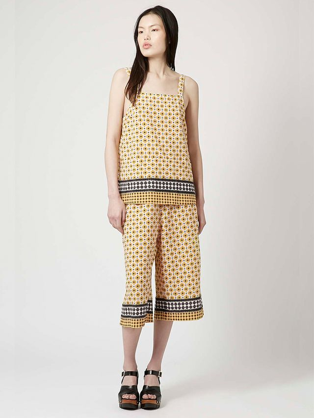 Topshop Tile Border Print Pinafore Top and Culottes