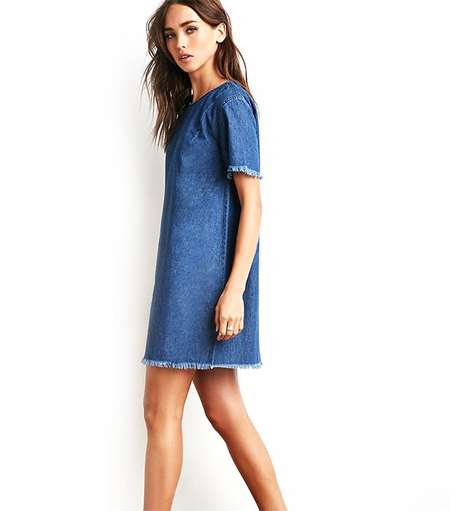 Forever 21 Raw-Cut Trim Chambray Dress