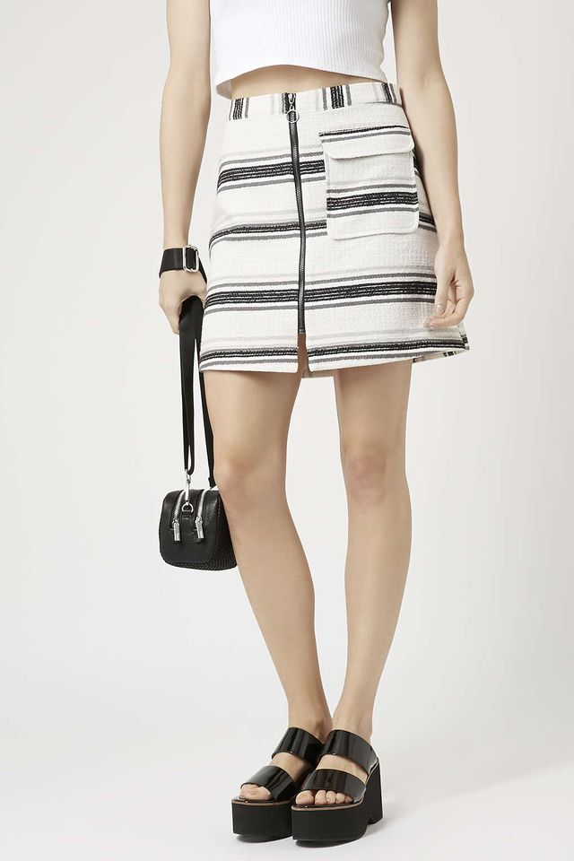Topshop Striped Zip Through Skirt