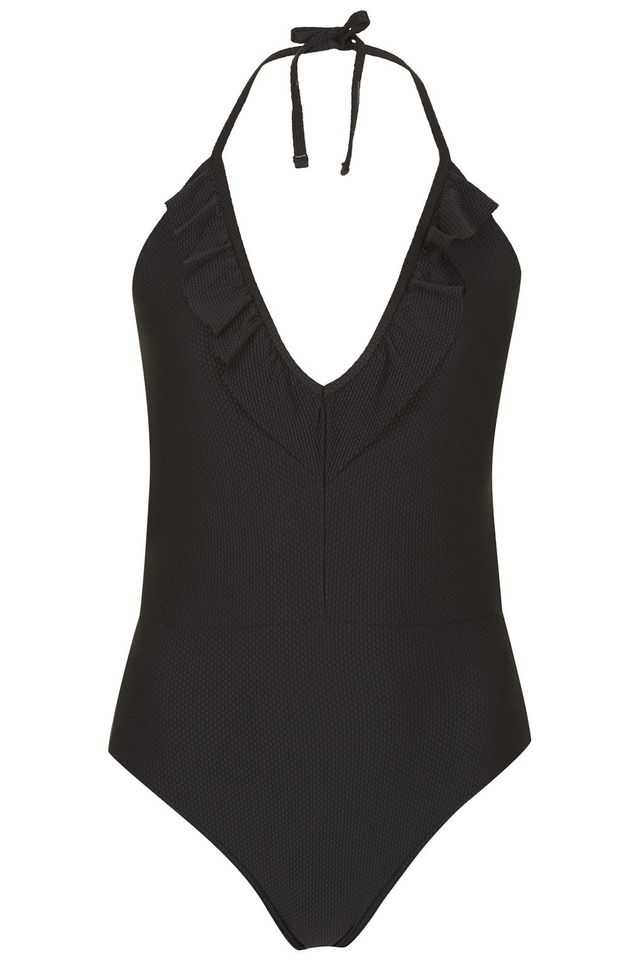 Topshop Deep Frill Swimsuit