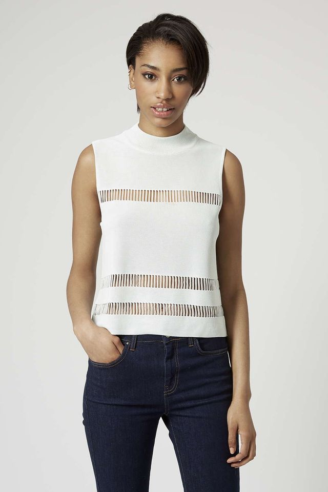 Topshop Knitted Laddered Top