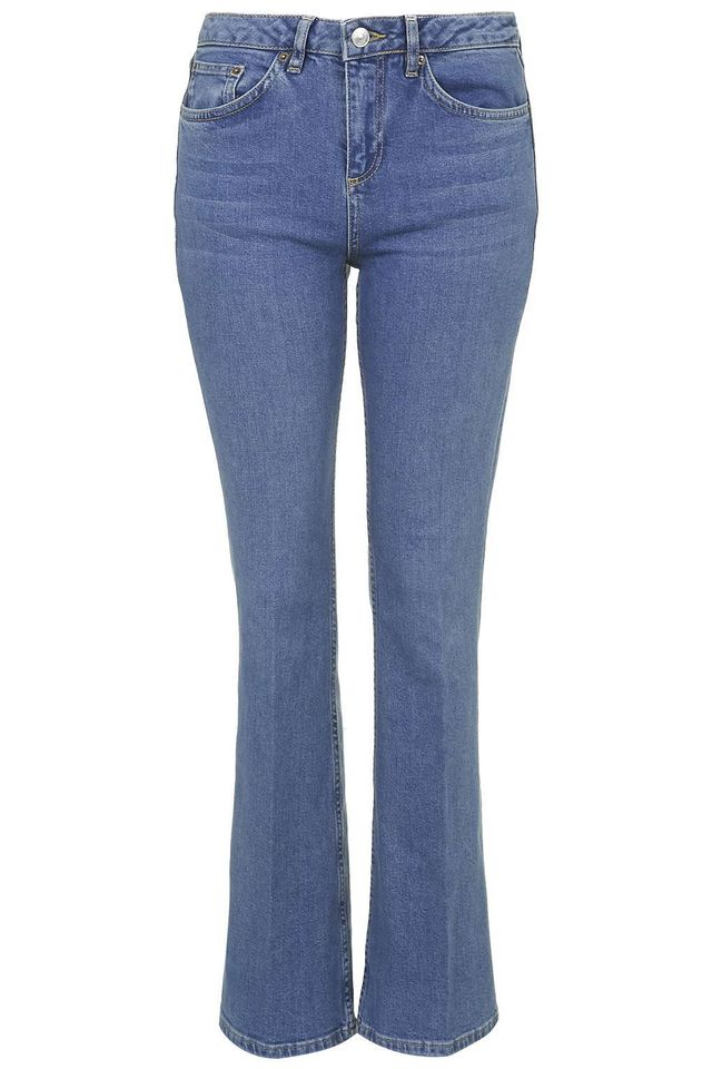Topshop Petite Moto Blue Tally Flare Jeans