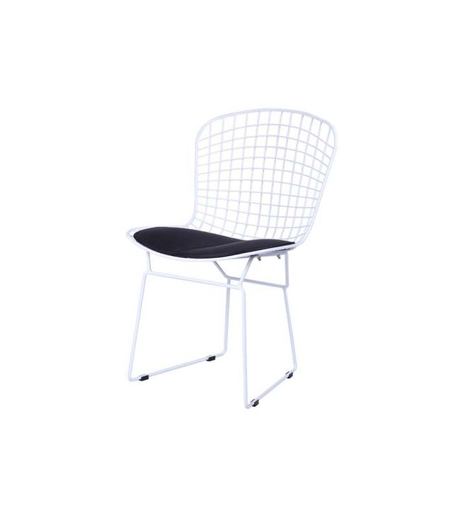 Exclusive Mod Bertoia-Style White Wire Side Chair