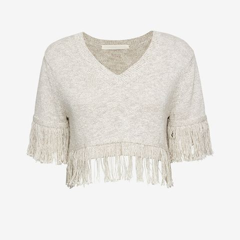 Fringe Trim Short Sleeve Sweater