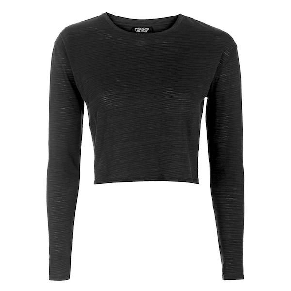 Topshop Long Sleeve Crop Top