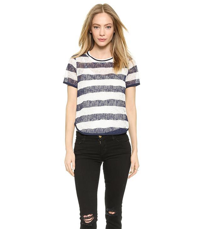 J.O.A. Striped Lace Top