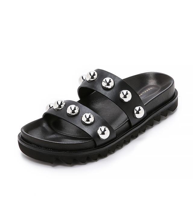 Loeffler Randall Zizzy Slides, Black/Silver