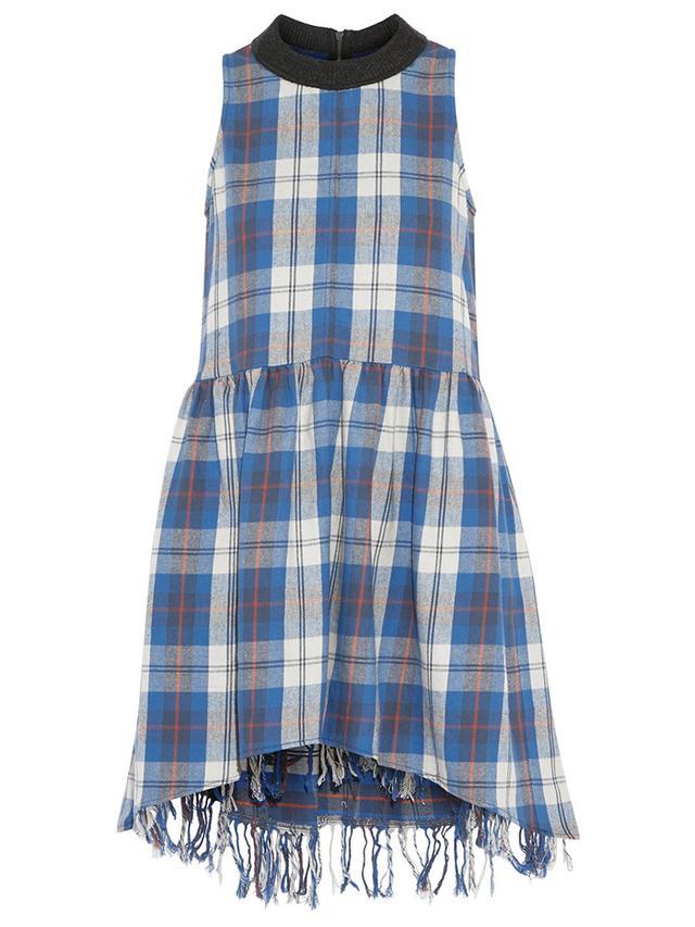 Sea Plaid Cotton-Flannel Dress