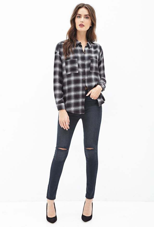 Forever 21 Split-Back Plaid Shirt