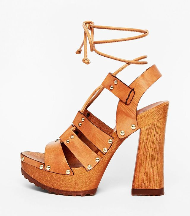 ASOS Turn Back Time Leather Heeled Sandals