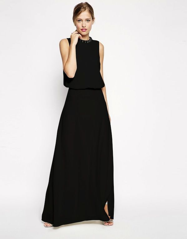 ASOS Embellished Pearl Trim Maxi Dress