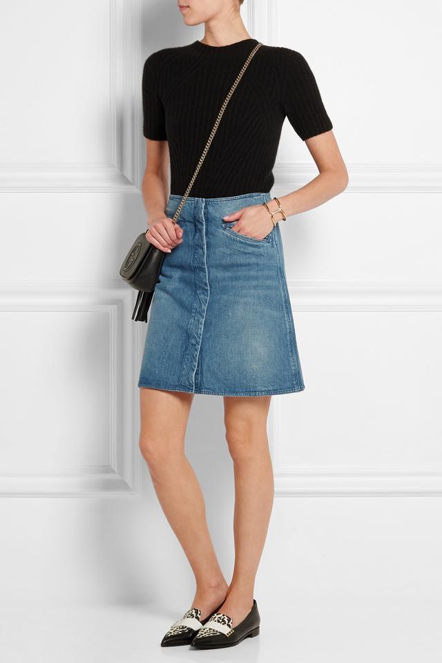 MiH Jeans Bodiam A-Line Stonewashed Denim Skirt