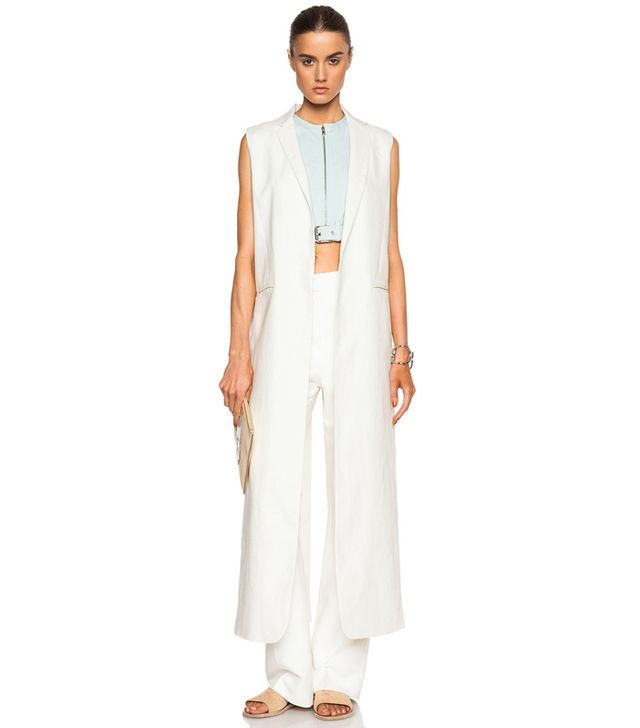 Nomia Washed Linen Long Slit Vest