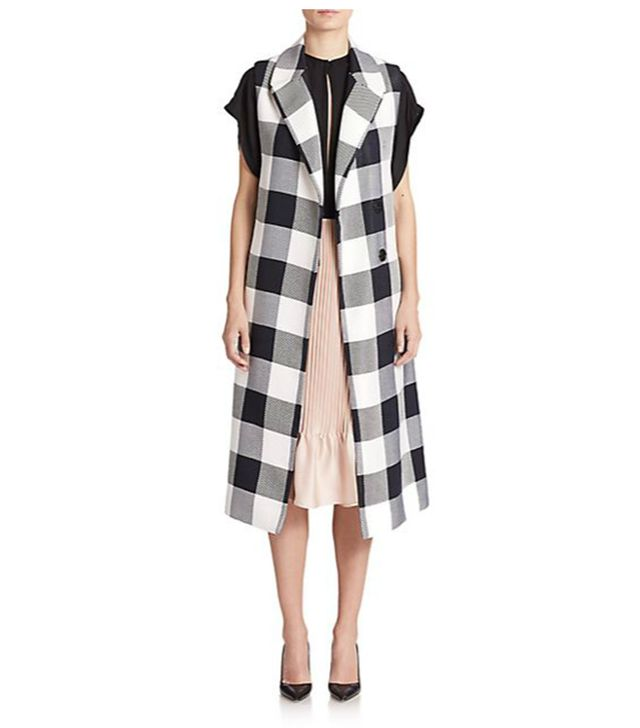 Tome Plaid Sleeveless Trench Coat