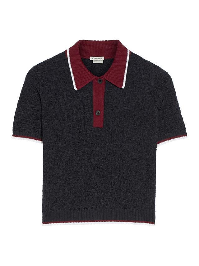 Miu Miu Textured-Wool Polo Shirt