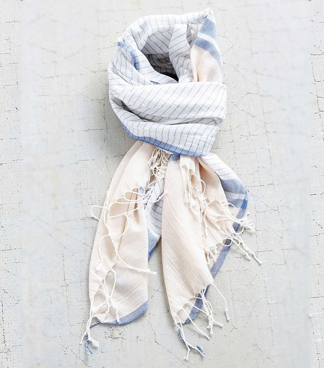 Urban Outfitters Washed Cotton Stripe Blanket Scarf