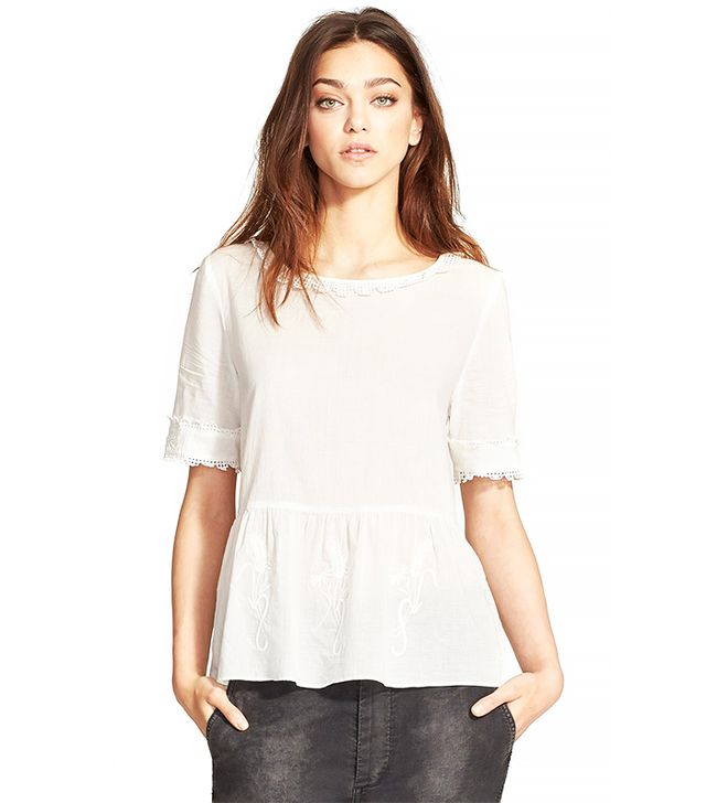 The Great. Meadow Eyelet Trim Cotton Voile Top