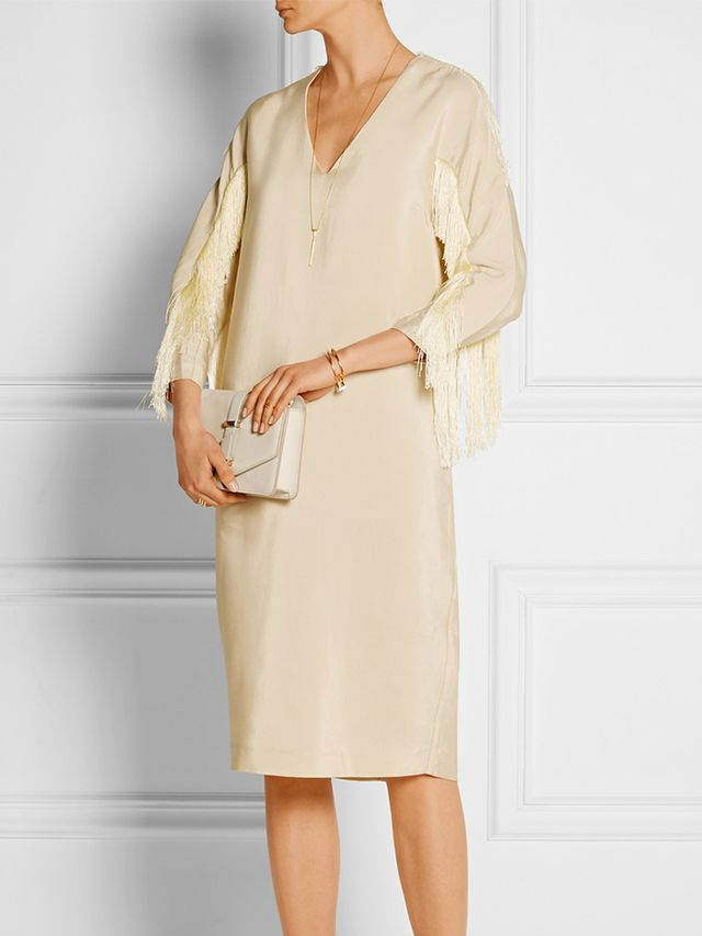 By Malene Birger Judoa Fringed Satin-Jersey Dress