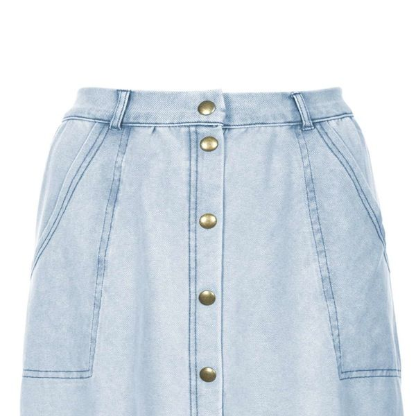 Topshop Denim-Look Button Front Skirt
