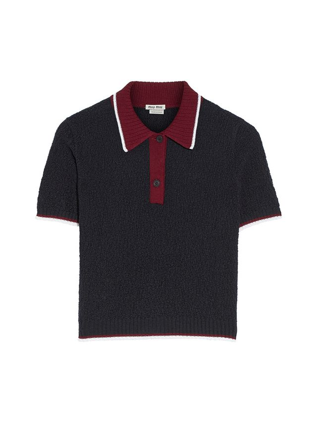 Miu Miu Textured-Wool Polo Shirt