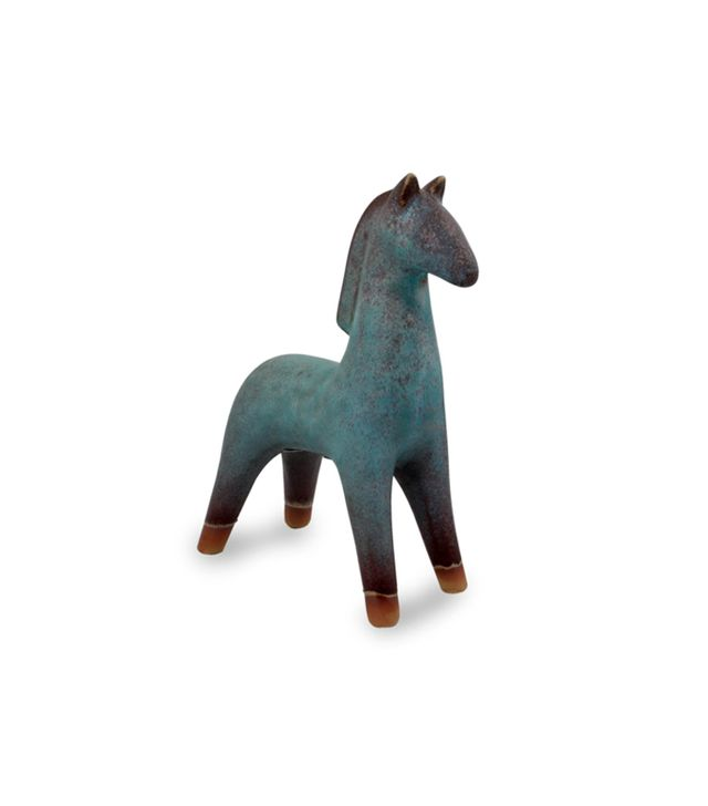 Turquoise Blue and Brown Handcrafted Ceramic Sculpture, 'Lanna Horse'