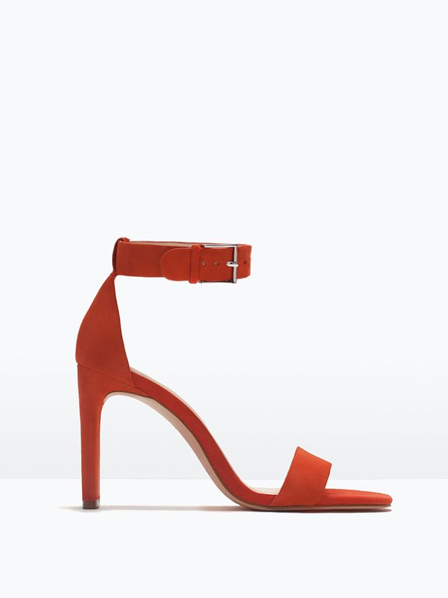 Zara High Heel Sandals With Ankle Straps