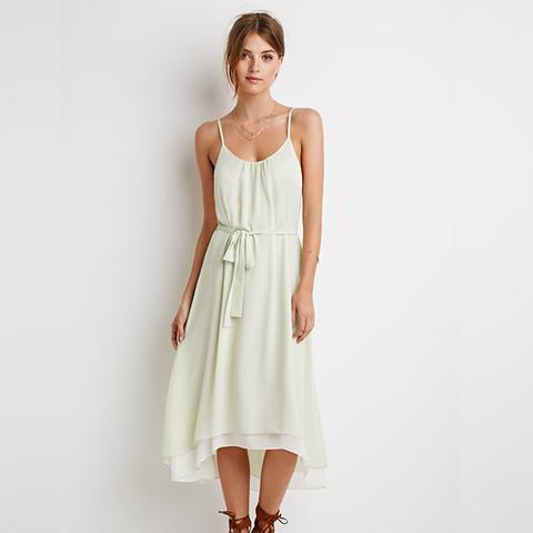Textured-Chiffon Belted Dress