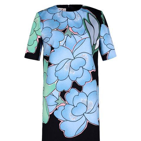 Floral Twill Shift Dress